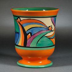 Clarice Cliff PotteryFantasque Ware, Comet five pedestal vase, England, circa 1930 Clarice Cliff, Pedestal, Art Deco Period, Art Deco Design, Pottery Art, Pottery Painting, Ceramic Artists, Glass Art, Antiques