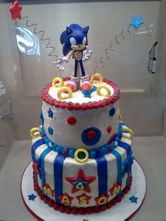 Sonic the Hedgehog Cake - Tristan's birthday cake this year - hope I can do it justice. Sonic the Hedgehog Cake - Tristan's birthday cake this year - hope I can do it justice. Sonic the Hedgehog Cake - Tristan's birthday cak Sonic Birthday Cake, Sonic Birthday Parties, Adult Birthday Cakes, Birthday Ideas, 5th Birthday, Bolo Sonic, Sonic Cake, Sonic Party, Creative Cake Decorating
