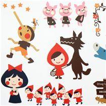 cute fairy tale wall sticker Little Red Riding Hood - Sticker Sheets - Sticker - Stationery