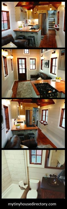 no plans for living in a tiny house but I do find it fascinating.  This one is one of my favorites - would not put the 2nd door in the living room area - would use a double window there for egress if needed in an emergency and an L shaped sectional to create a more comfy sitting area. Love the kitchen and actual bedroom