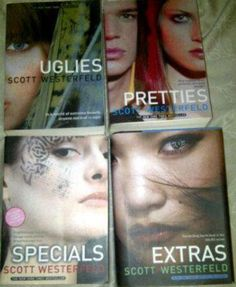 The Uglies series by Scott Westerfeld  Cool and interesting series. Very enticing and well written. A must read for all girls Ages preteen/teen