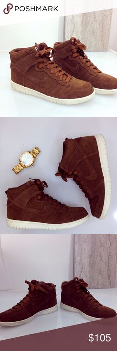 Nike Zoom Dunk Hightops Work to play these killer shoes will give you the style-forward look without sacrificing comfort. Carmel suede with little to no signs of wear, worn maybe four times. Priced to sell, bundle to save! Nike Shoes
