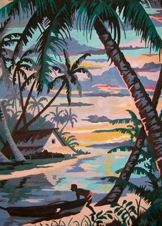 Vintage, Tropical, Painting, Paint by Number, PBN, Islands, Canoe, Islander