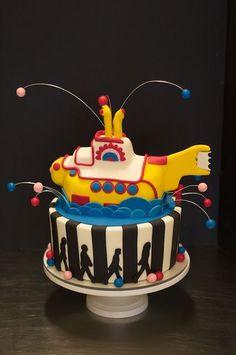 Beatles Yellow Submarine Cake Bolo Dos Beatles, Beatles Cake, Yellow Submarine Cake, Beatles Birthday Party, Birthday Memes, Birthday Cards, Cake Cookies, Cupcake Cakes, Music Cakes