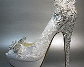 Wedding Shoes -- White Platform Peeptoe with Silver Crystals on Heel and Silver Crystal Butterfly