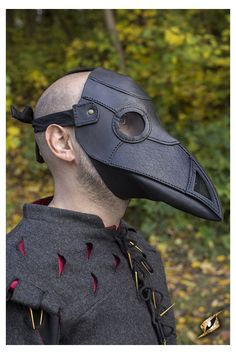 An unsettling black leather Plague Doctor Mask. Designed by epic armoury for use in Canada and the USA in your favored LARP, Cosplay, Renaissance Fair or SCA Event Black Plague Mask, Black Plague Doctor, Plague Doctor Mask, Black Mask, Plague Dr, Crow Mask, Wolf Mask, Steampunk Armor, Doctor Costume