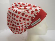 Super Cute Hearts and Ladybugs Bouffant Scrub Hat, nurse hat, surgical tech