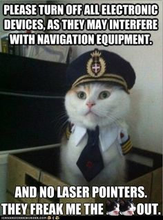 PLEASE TURN OFF ALL ELECTRONIC DEVICES, AS THEY MAY INTERFERE WITH NAVIGATION EQUIPMENT. AND NO LASER POINTERS. THEY FREAK ME THE **** OUT.