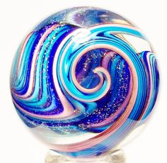 "EDDIE SEESE ART GLASS MARBLES 1-7/8"" DOUBLE LAYERED DICHROIC TETRISPHERE MARBLE 