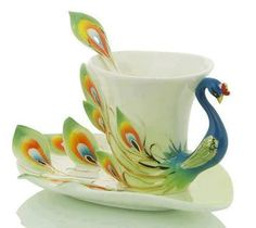 Pretty peacock Teacup