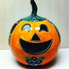 Talavera Jack-O-Lantern #oldworldpotteryofwichitafalls #jackolantern #talavera #halloween #colorful #smile #smiling #joy #orange #pumpkin #decor #decoration