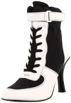 Funtasma by Pleaser Women's Referee-125/BW referee costume boots,Black Canvas,8 M US