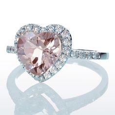 Morganite Ring Heart Shape Cut Dainty Morganite Diamond Heart Halo Solitaire Engagement Anniversary Ring. $1,280.00, via Etsy.