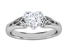 Heart Diamond Triquetra Celtic Engagement Ring in 14K White Gold