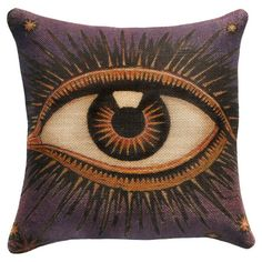 Showcasing a bold eye motif, this eye-catching burlap pillow adds chic style to your sofa or favorite arm chair. Made in the USA.    ...