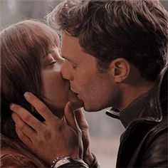 """""""I want to bite this lip,"""" he murmurs against my mouth, and carefully he tugs at it with his teeth. Romantic Couple Kissing, Romantic Kiss Gif, Kiss And Romance, Cute Couples Kissing, Cute Couples Goals, Couples In Love, Romantic Couples, Fifty Shades Movie, Fifty Shades Series"""