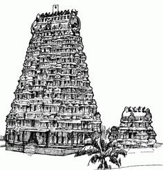 Meenakshi Amman Temple, Madurai, Tamil Nadu - Kids Portal For Parents Pen Sketch, Sketches, Temple Drawing, Indian Temple Architecture, Black Paper Drawing, Outline Art, Charcoal Sketch, Tanjore Painting, Indian Art Paintings