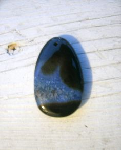 Unique Druzy Agate Pendant  bue and black by KrystalKlarityBeads