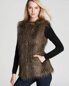 Parma Collarless Faux Fur Vest $102.33