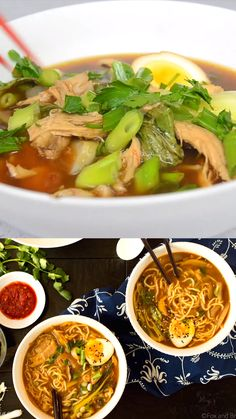 This Easy Chicken Ramen can be made at home in about 30 minutes! A flavorful broth with chicken and noodles, and don't forget the ramen egg! Chicken Ramen Recipe, Easy Chicken Recipes, Asian Recipes, Rice Noodle Ramen Recipe, Easy Ramen Recipes, Korean Chicken Soup, Korean Soup Recipes, Chicken Noodle Soup, Noodle Recipes