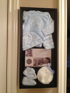 I'd like to do this with their hospital hats and announcements. Coming Home Outfit, Shadowbox, Newborn Baby Shadowbox