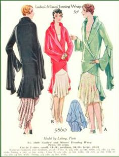 McCall 5860 by Lucien Lelong | ca.1929 Ladies' & Misses' Evening Wrap