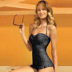 Jantzen Swimwear Vamp Bathing Suit   Black White Polka Dot: Love it! Full coverage, but shoulders can get sun...and it's cute!