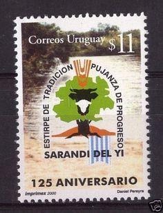 URUGUAY-Sc-1891-MNH-STAMP-Tree-Wheat-Cattle-River-flag-cv-3-25