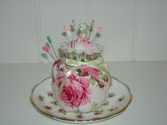 """Barefoot Roses"" Yummy Pink Cupcake Pin Cushion by sweetmemorymakingmom, via Flickr"