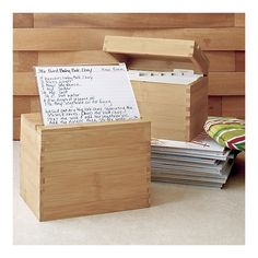 Simple wooden box designs build a beautiful recipe box with sustainable bamboo recipe box with divider cards from crate barrel forumfinder Gallery