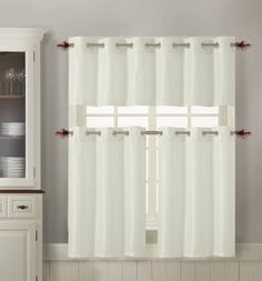 3 Piece Kitchen Curtain Set : 1 Valance, 2 Tiers, Solid Colors, Metal Grommets (Off White) VC http://www.amazon.com/dp/B00I2F1XYW/ref=cm_sw_r_pi_dp_17TQtb0K8VF02162