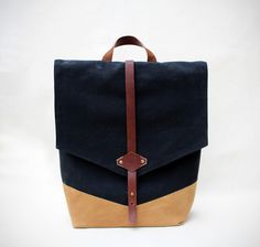 Large Waxed Canvas Backpack Black Gold 13 15 By Alkki Handbags