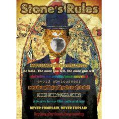 A poster featuring 9 of Stone's Rules. Plakat przedstawiający 9 zasad Stone'a.