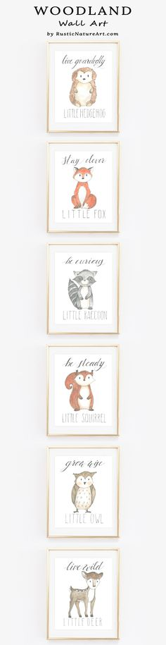 Woodland Wall Arts with cute little animals with quotes. Beautiful prints to decorate your baby's nursery wall. Babyroom decor ideas, babyshower gift. www.rusticnatureart.com more artist designed art prints.