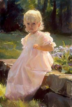 beautiful angelic girl painting |   ' Figure of Child ' | Dawn E. Whitelaw