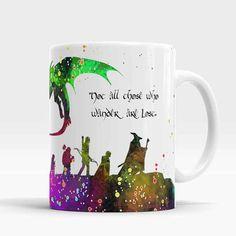 Lord Of The Rings Mug, The Hobbit mug, Lord of The Rings quote coffee cup, Gandalf, Hobbit, Dragon, Watercolor Art Ceramic Mug