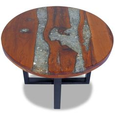 Vintage Round Coffee Table Living Room Unique Handmade Retro Style Furniture