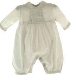 Sarah Louise White Long Sleeve Christening Romper with Blue Smocking