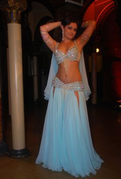 Powder Blue Pearl and Crystal Bellydance Costume