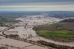 Lovely aerial showing extent of flooding Severn/Avon Courtesy David Hedges http://SWNS.com