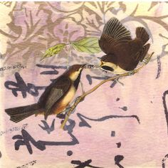The Argument -- collage with two birds from vintage illustration over found papers and watercolor background in blush with text accents by paperwerks on Etsy #etsy #birds #collage