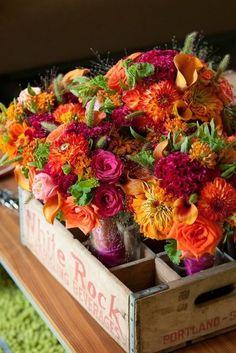 Autumn Floral Crate