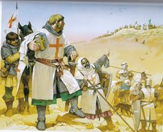 Crusaders watched from above by Saracen cavalry: