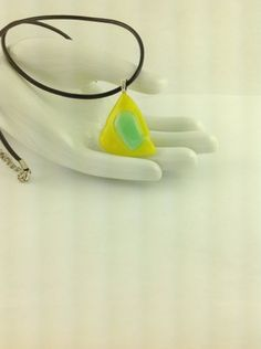 Fused Glass Abstract Art Yellow Green Pendant on A  Leather Cord Necklace      Hand Crafted Jewelry
