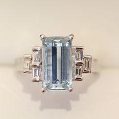 18ct VS Diamond Engagement ring with Emerald cut Aquamarine, Art Deco design