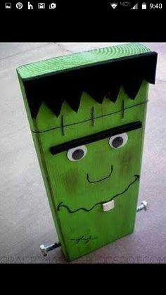 Frankenstein diy out of scrap wood. 2x8 or a 2x10  Halloween decor