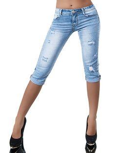 40512852bf Damen Capri Jeans Hose Shorts Damenjeans Caprijeans Bermuda Normaler Bund.  Starke Details - Spitzen Verarbeitung