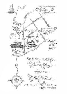 Custom Wedding Map  Hand Drawn Art Map  Hand by LauraLavenderArt, $250.00