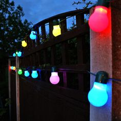 powered light string nicely hung over a fence trellis. Colours slowly morph to give an ambient glow at night. Solar Fairy Lights, Solar String Lights, Light String, Leaving Party, Solar Water, Party Lights, Color Changing Led, Outdoor Parties, Tk Maxx