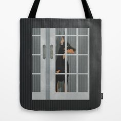 Guard Dog Doberman Pinscher Tote Bag by Aquamarine Studio - $22.00 Guard dog, Doberman pinscher, Dobermann, canine, domestic pet, canine, animal, man's best friend, watchful, muscular, masculine, protection, protective, defend, house dog, pedigree, intimidating, cropped ears, evening, darkness, indoors, French doors, illustration, digital art, paper, collage, quilt, texture, textile, fabric, contemporary, folk, art, mixed media, graphic design